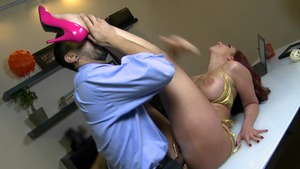 CumFiesta: Bald and skinny Suzanne Kelly getting facial