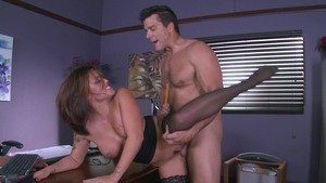 Big Tits at Work: Brown hair Eva Angelina squirts feet licking