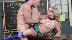 Big Tits at School - Muscled Brianna Brooks striptease scene