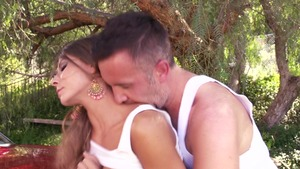 BabyGotBoobs: Tanned Madison Ivy reverse cowgirl outdoors