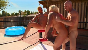 Big Tits in Sport - Tanned Phoenix Marie swallow in the pool