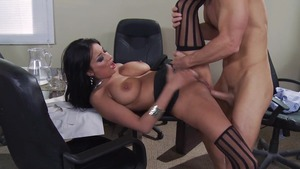 Big Tits at Work: Shaved Anissa Kate throat fuck in stockings