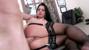 Big Tits at Work: Rebeca Linares very clean handjob porno
