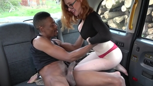 FakeTaxi: Lenina Crowne in panties reverse cowgirl outdoors