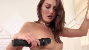 Wet and Puffy: Gorgeous babe Katy Rose riding large dildo